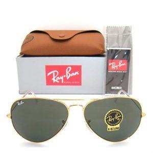 RayBan Aviator Black and Gold lentes de sol polarizados